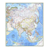 1971 Asia Map Prints by  National Geographic Maps