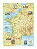 Travelers Map Of France Map 1971 Side 1 Poster af National Geographic Maps