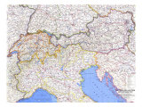 1965 Switzerland, Austria, and Northern Italy Map Prints by  National Geographic Maps
