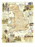 1979 Medieval England Map Posters by  National Geographic Maps