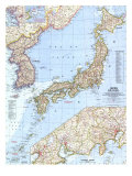 Japan And Korea Map 1960 Prints