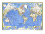 1965 World Map Prints by  National Geographic Maps