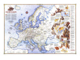 1983 History of Europe, the Major Turning Points Map Posters