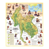 Peoples of Mainland Southeast Asia Map 1971, Giclee Print