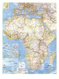 1960 Africa Map Lámina giclée premium por  National Geographic Maps