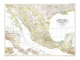 1953 Mexico and Central America Map Posters