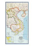 1965 Vietnam, Cambodia, Laos and Eastern Thailand Map Prints