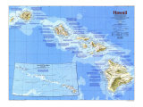 1983 Hawaii Map Print by  National Geographic Maps