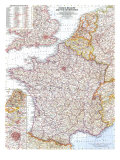 1960 France, Belgium and the Netherlands Map Prints