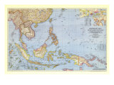 Southeast Asia and the Pacific Islands Map 1944 Prints