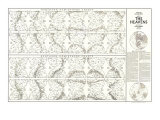 Heavens Map 1970 with Star Charts Art
