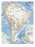 South America Map 1960 Prints