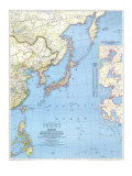 Japan Map 1944 with Asia and the Pacific Ocean Prints