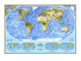1994 World Physical Map Posters by  National Geographic Maps
