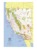 1974 Close-up USA, California and Nevada Map Posters