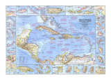 1970 West Indies and Central America Map Print by  National Geographic Maps