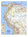 1964 Northwestern South America Map Prints by  National Geographic Maps
