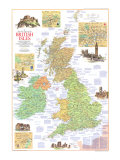 Travelers Map Of The British Isles Map 1974 Side 1 Posters af National Geographic Maps