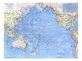 Pacific Ocean Map 1969 Poster af National Geographic Maps