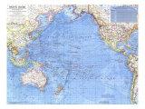 1969 Pacific Ocean Map Poster