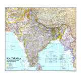 1997 South Asia with Afghanistan and Myanmar Map Premium Giclee Print by  National Geographic Maps