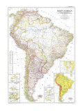 South America Map 1950 Art