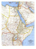 1963 Africa, Countries of the Nile Map Prints