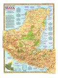 Land Of The Maya Map 1989 Print
