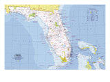 Florida Map 1973 Prints