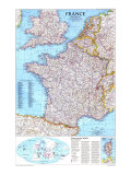 1989 France Map Poster by  National Geographic Maps