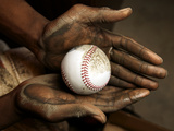 Balls are rubbed with mud before every major league baseball game Fotografisk tryk af Rebecca Hale