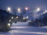 Lighting over the Mt. Hood Skibowl night skiing area Photographic Print by Jim Richardson