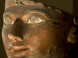 Osiris statue face of Hatshepsut in painted limestone Photographic Print by Kenneth Garrett