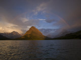 Grinnell Point at sunrise over Swiftcurrent Lake Photographic Print by Michael Melford