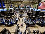 Fugleperspektiv af børsgulvet på New Yorks fondsbørs Fotografisk tryk