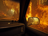 A firefighter supervisor drives through flames that jumped the road Photographic Print by Mark Thiessen