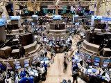 Ângulo elevado da sala de operações da Bolsa de Valores de Nova York Impressão fotográfica