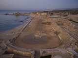Caesarea's hippodrome hugs the Mediterranean Coast Photographic Print by Michael Melford
