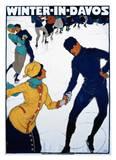 Winter in Davos Print by Burkhard Mangold