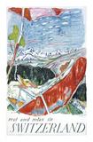Schweiz Affischer av Carigiet Alois