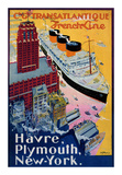 Transatlantique, French Line, Paris-Havre-New York Posters by Albert Sebille