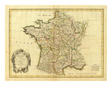France, carte generale, c.1786 Poster av Rigobert Bonne