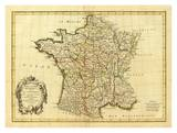 France, carte generale, c.1786 Planscher av Rigobert Bonne