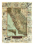 Map of California Roads for Cyclers, c.1896 Poster by George W. Blum