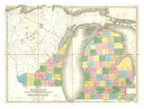 Map of Michigan and Part of Wisconsin Territory, c.1839 Poster by David H. Burr