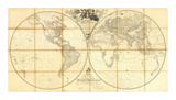 Map of the World, Researches of Capt. James Cook, c.1808 Posters by Aaron Arrowsmith