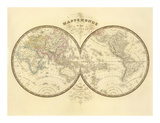 Mappemonde, c.1849 Print by Eugene Andriveau-goujon