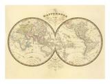 Mappemonde, c.1849 Prints by Eugene Andriveau-goujon
