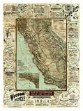 Map of California Roads for Cyclers, c.1896 Affiche par George W. Blum