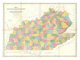 Map of Kentucky and Tennessee, c.1839 Posters by David H. Burr